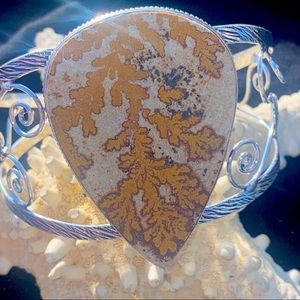 German Dendritic Natural Gemstone statement cuff